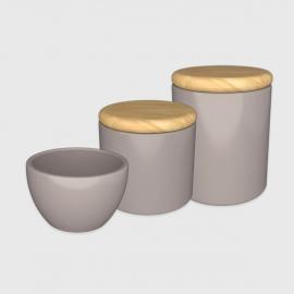 Kit higiene cinza com tampa de madeira