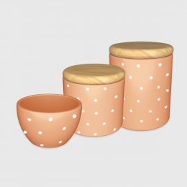 Kit higiene jatiuca poá com tampa de madeira