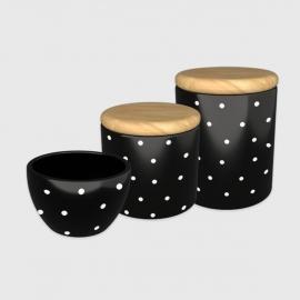 Kit higiene preto poá branco com tampa de madeira
