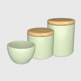 Kit higiene verde com tampa de madeira