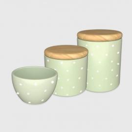 Kit higiene verde poá com tampa de madeira