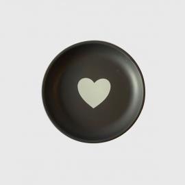 Prato Cerâmica Preto-Coração Branco