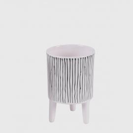 Vaso cerâmica com pés listra