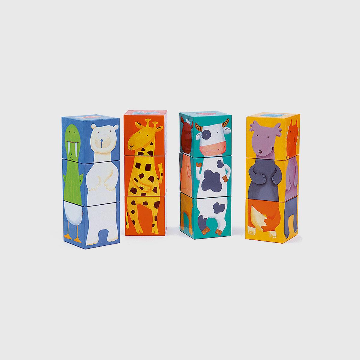 Cubos animais coloridos