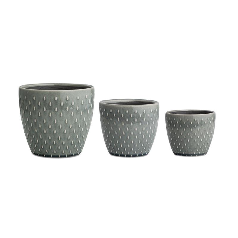 Kit Cachepot Pistache 3Pçs Em Cerâmica
