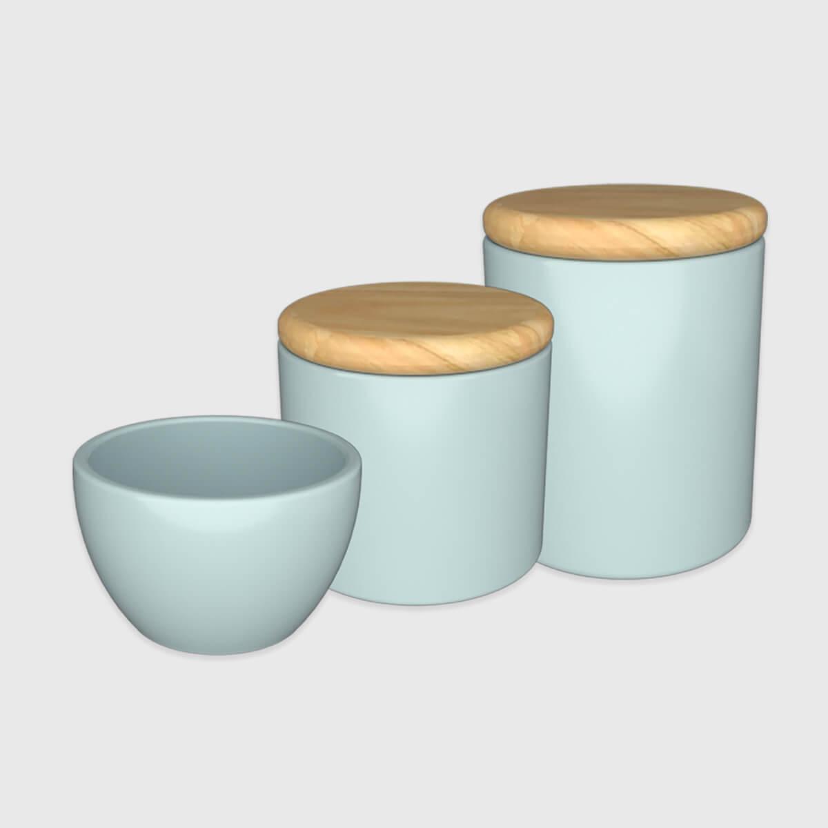 Kit higiene azul com tampa de madeira