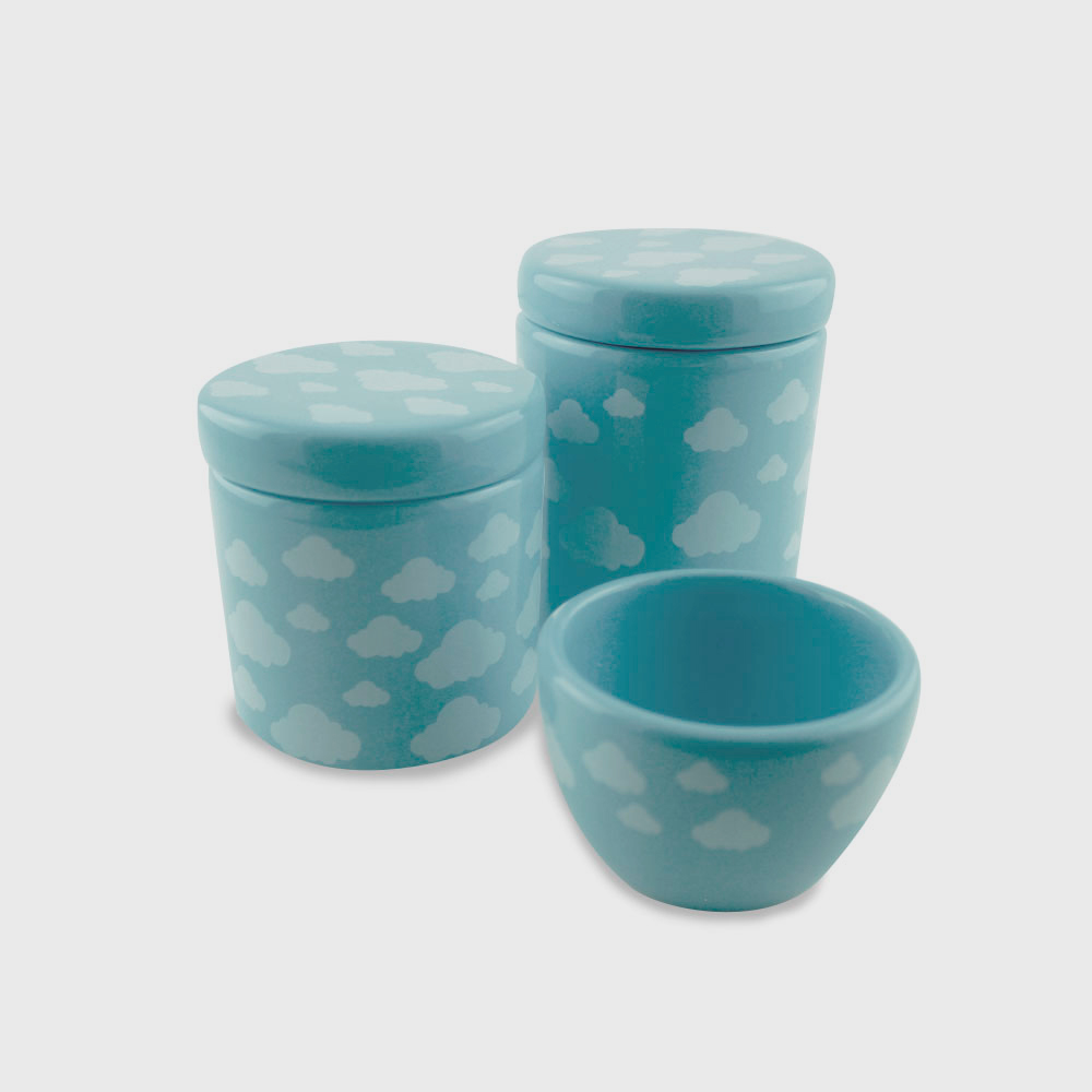 Kit higiene nuvens azul