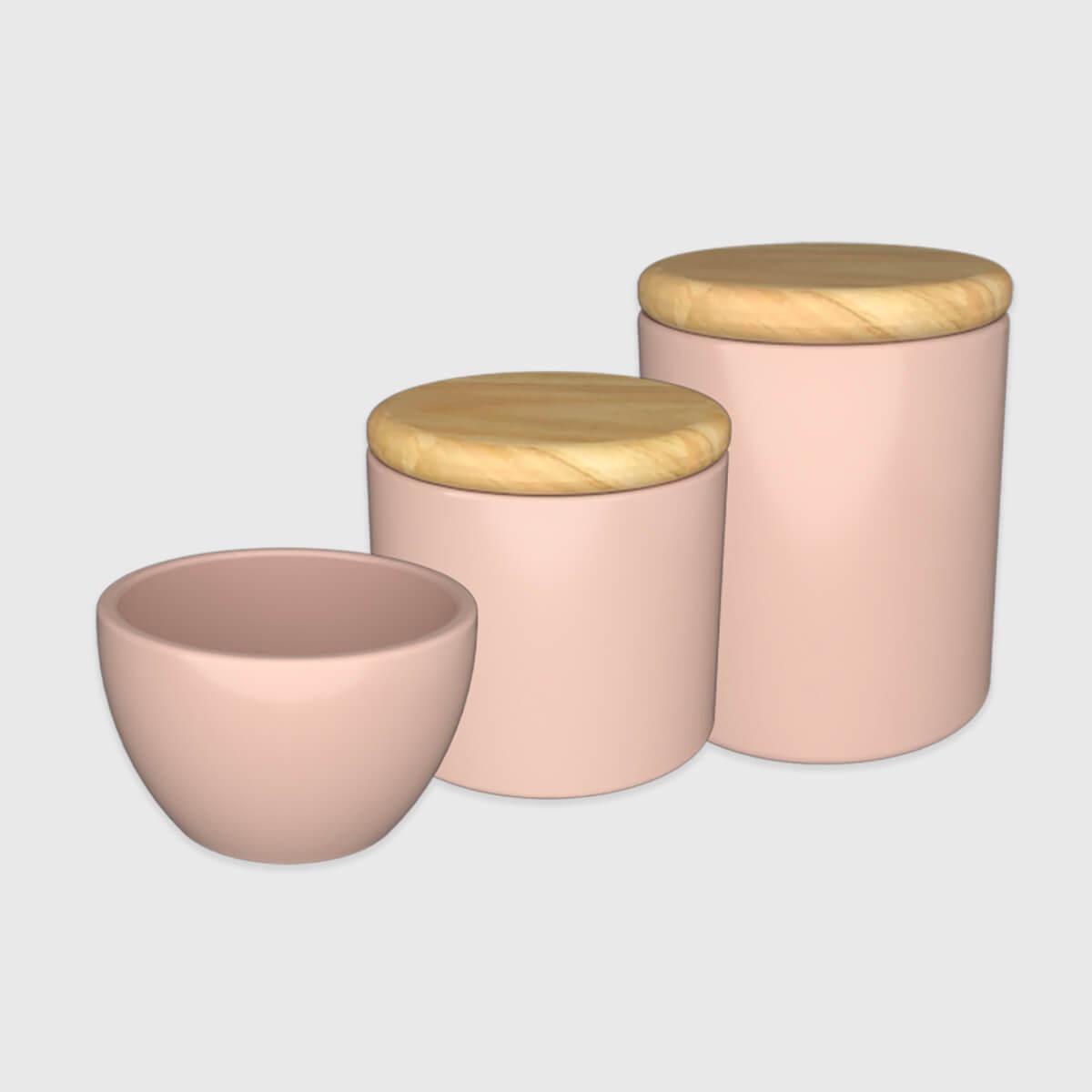 Kit higiene rosa com tampa de madeira