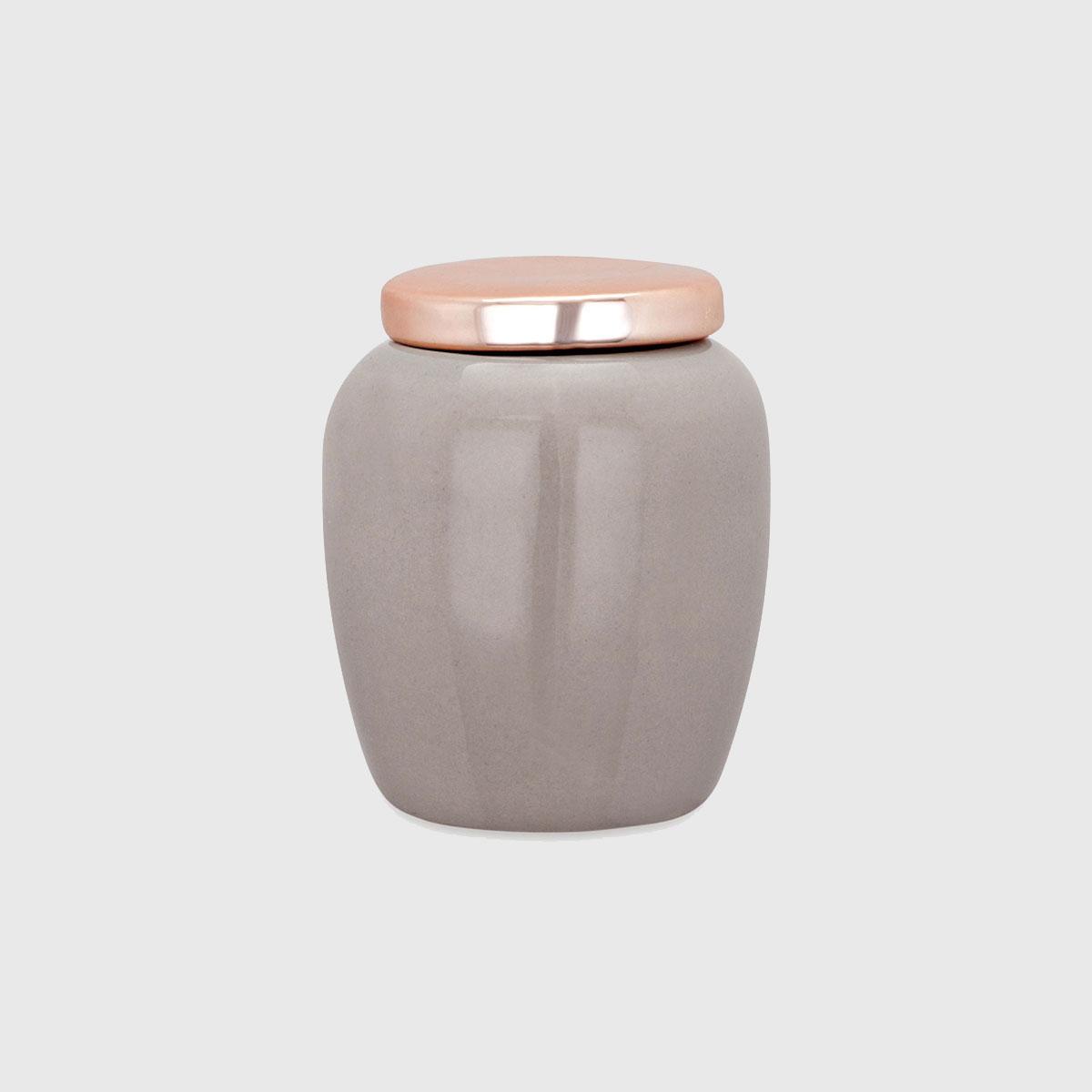 Kit Pote Cinza E Rose Golde Em Cerâmica
