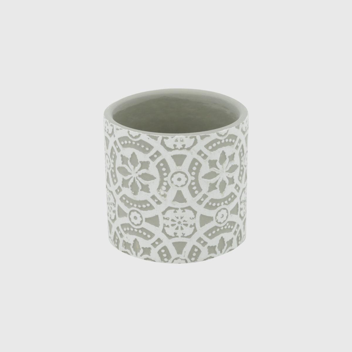 Mini vaso em concreto verde e branco