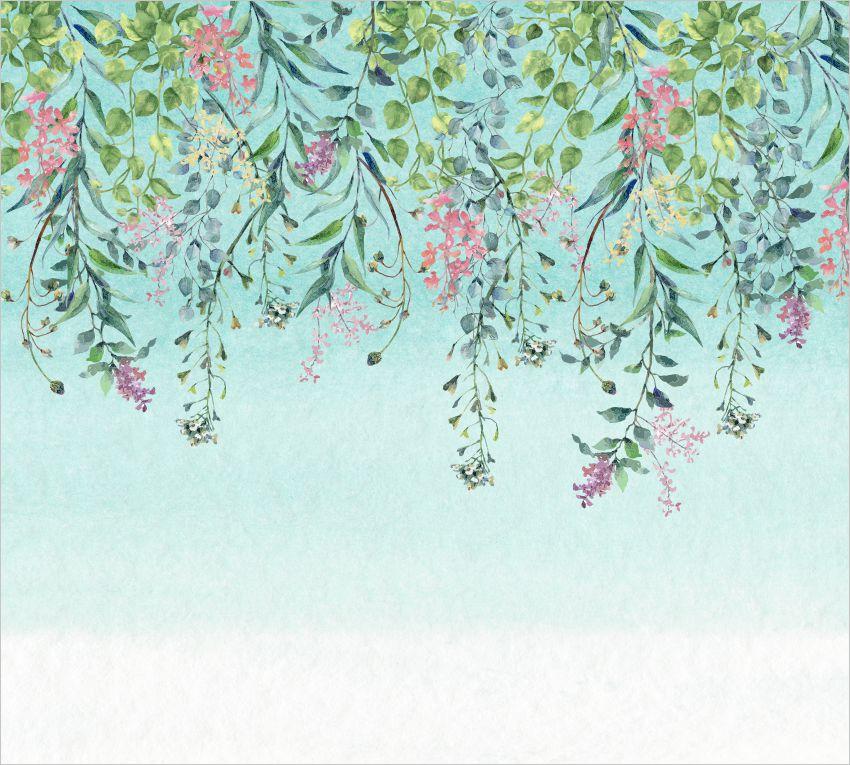 Painel botânico aquarelado