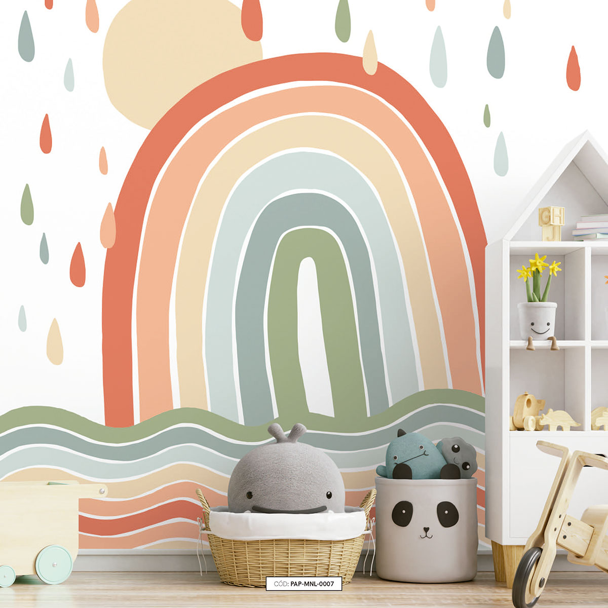 Painel de parede arcoiris com ondas colors