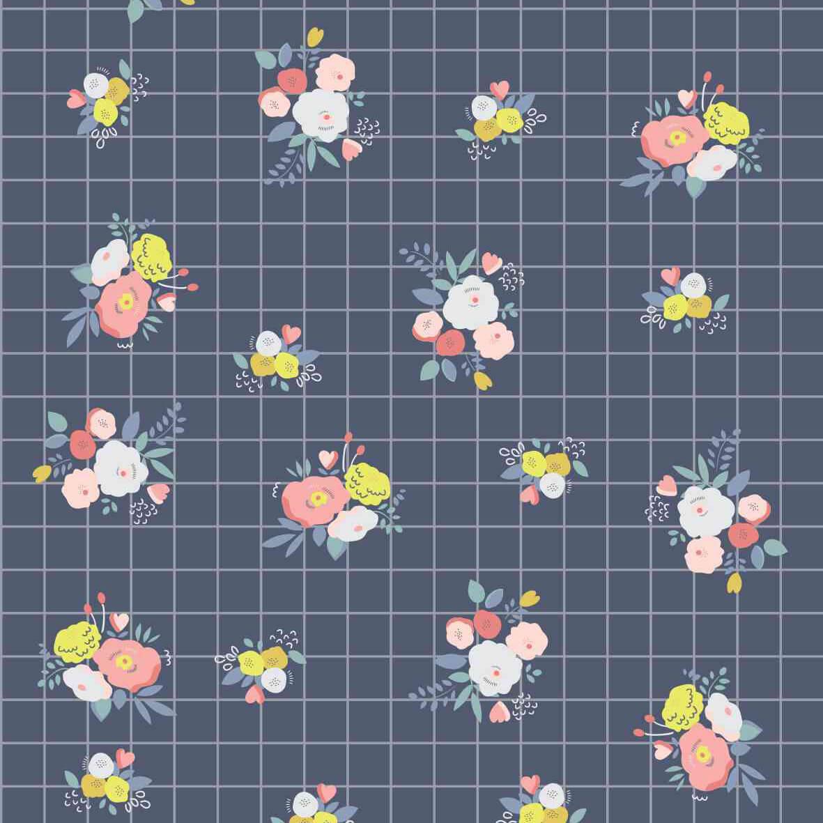 Papel de parede floral grid