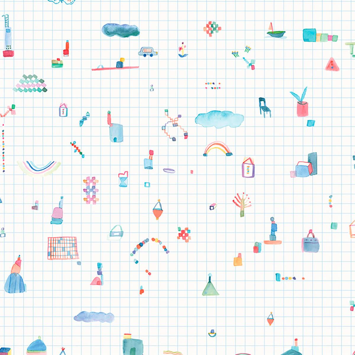 Papel de parede grid azul   Sandra Jávera