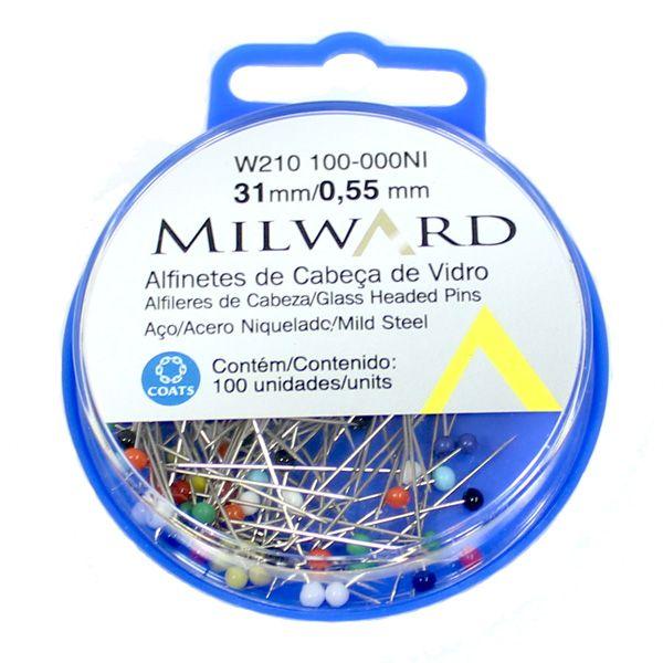Alfinete Cabeça de Vidro Colorido Milward com 100 Unidades - Coats