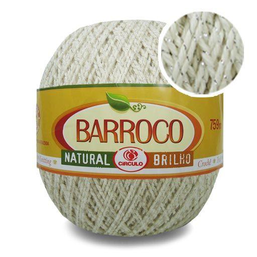 Barbante Barroco Natural Brilho Prata n06 700g - Círculo