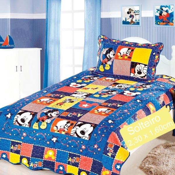 Colcha Patchwork Solteiro 230x160cm - Mickey 2pçs Camesa