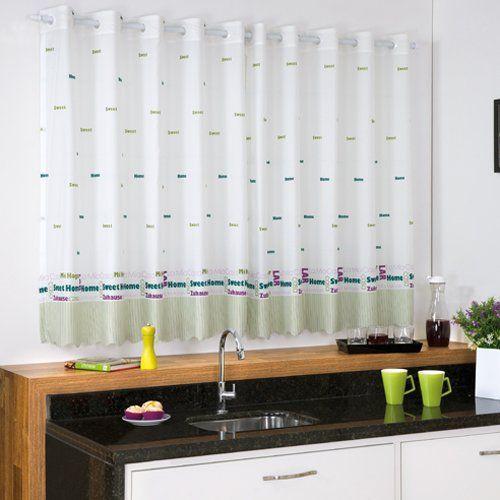 Cortina Pongee Cozinha Allegra c/ Ilhos 200 x 140cm - Bella Janela