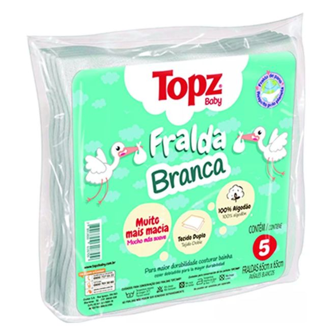 Fralda de Pano Branca Topz Baby 65 x 65cm c/5 un
