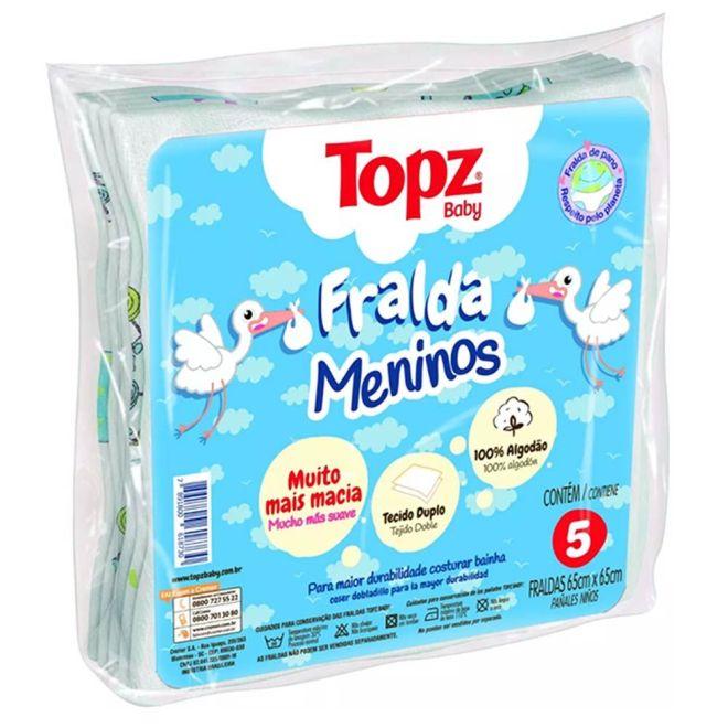 Fralda Meninos Estampada Topz Baby 65 x 65cm c/5 un