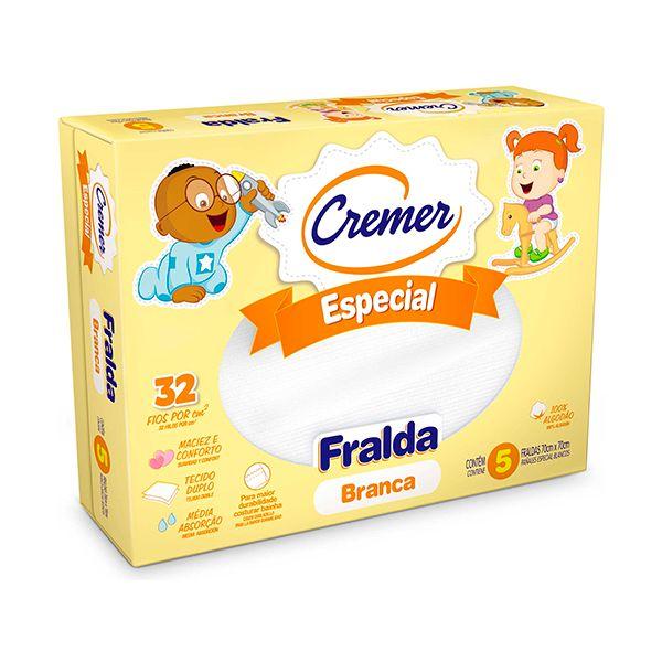 Fralda Tecido Cremer Especial Branca 70 X 70cm c/ 5