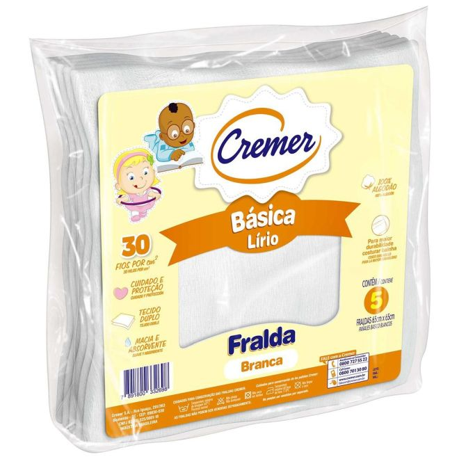 Fralda Tecido Cremer Lirio Branca 65 x 65 cm c/5