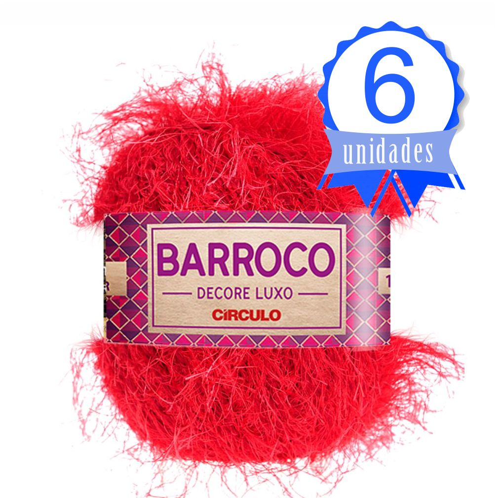 Kit Barbante Barroco Decore Luxo Cor 0333 Vermelho - Circulo C/ 6 un.