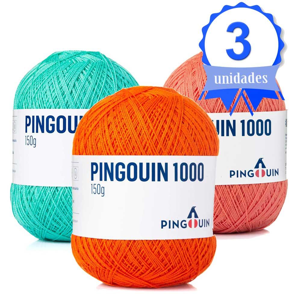 Kit com 03 Novelos Linha Pingouin 1000 150g