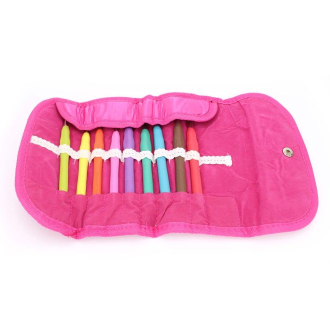 Kit de Agulhas Soft Emborrachada para Crochê Círculo Pink c/ 09 unidades