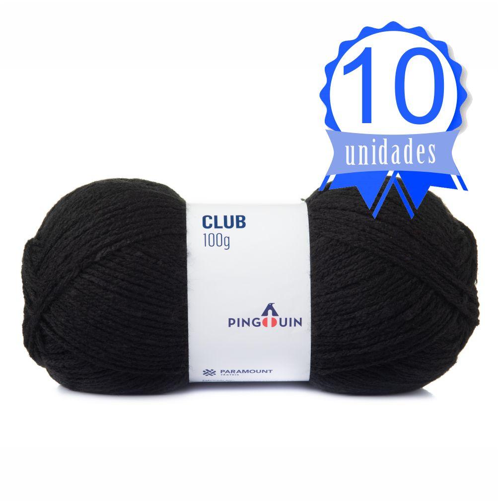 Kit Fio Club 100g Cor 0100 Preto - Pingouin C/ 10 un.