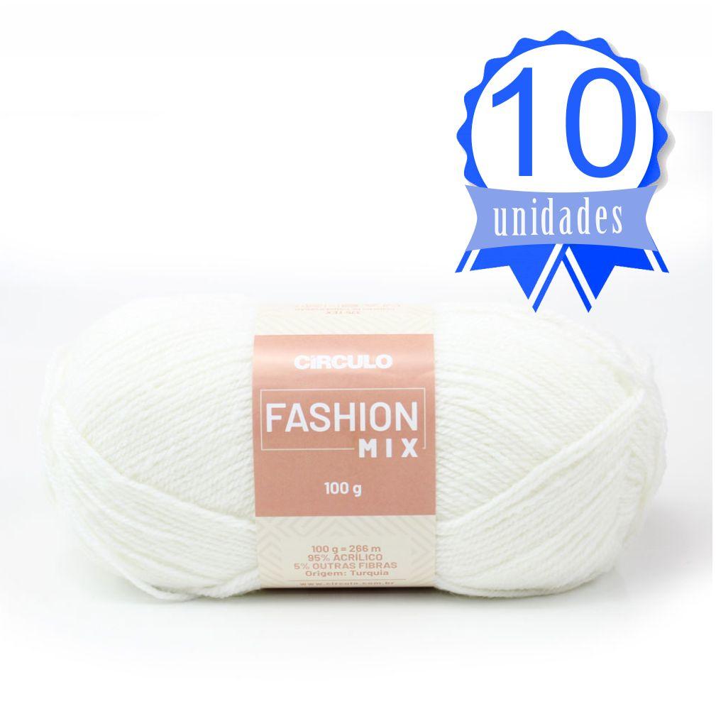 Kit Fio Fashion Mix 100g Cor 8001 Branco - Circulo C/ 10 un.