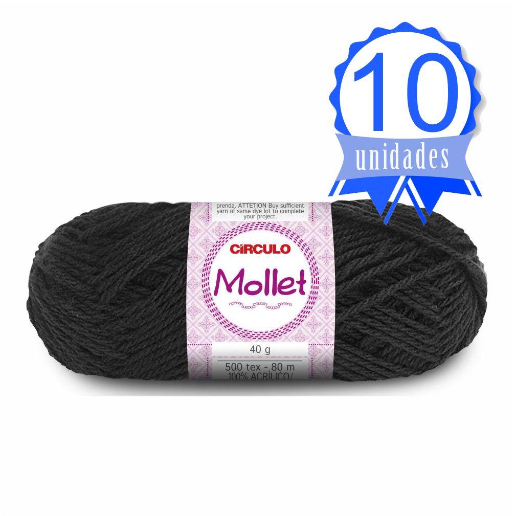Kit Lã Mollet 40g Cor 0940 Preto - Circulo C/ 10 un.