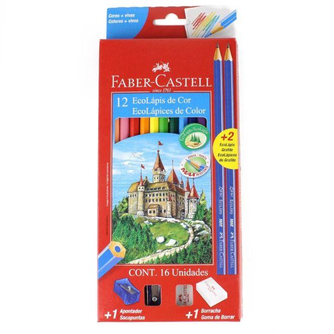 Lápis de Cor Sextavado 12 Cores - Faber-Castell