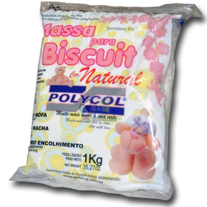 MASSA P/ BISCUIT POLYCOL PRONTA 1KG - BRANCA