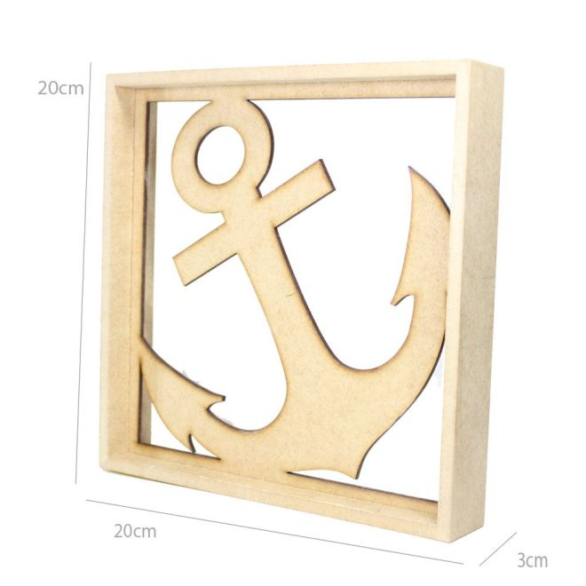 Quadro Decorativo MDF Cru Âncora 20 x 20 x 3cm