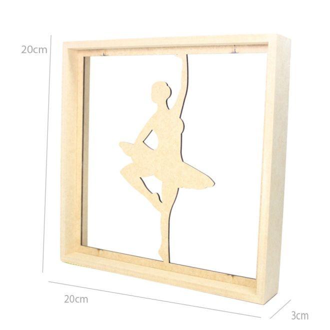 Quadro Decorativo MDF Cru Bailarina1 20 x 20 x 3cm