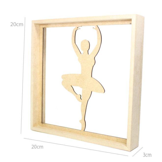 Quadro Decorativo MDF Cru Bailarina2 20 x 20 x 3cm