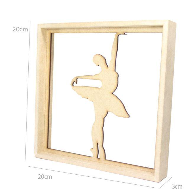 Quadro Decorativo MDF Cru Bailarina3 20 x 20 x 3cm