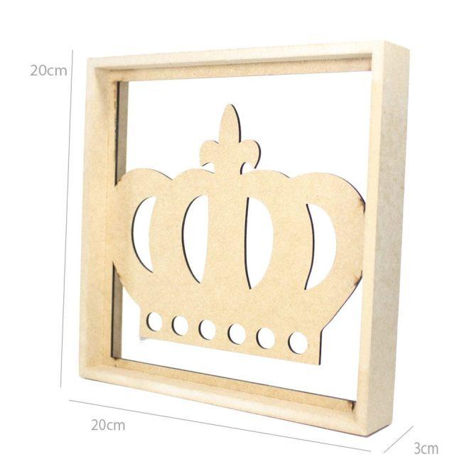 Quadro Decorativo MDF Cru Coroa 20 x 20 x 3cm