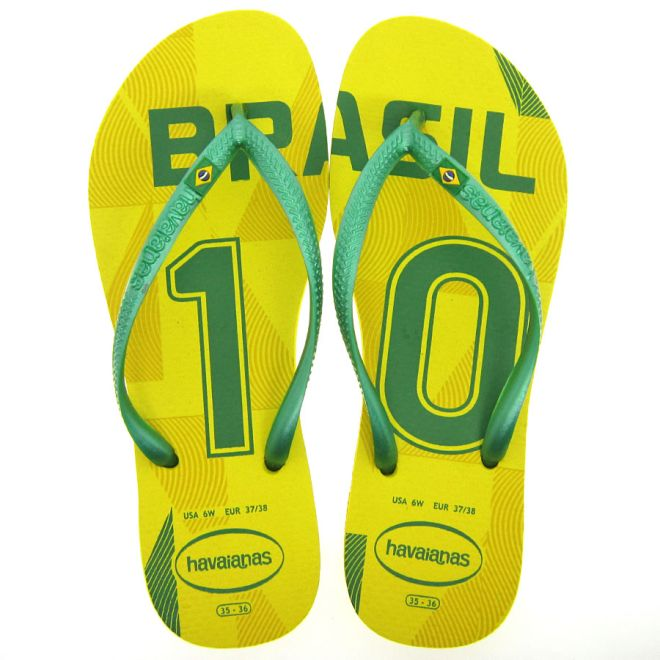 Sandália Havaianas Slim Teams 37/38 - Amarelo Verde