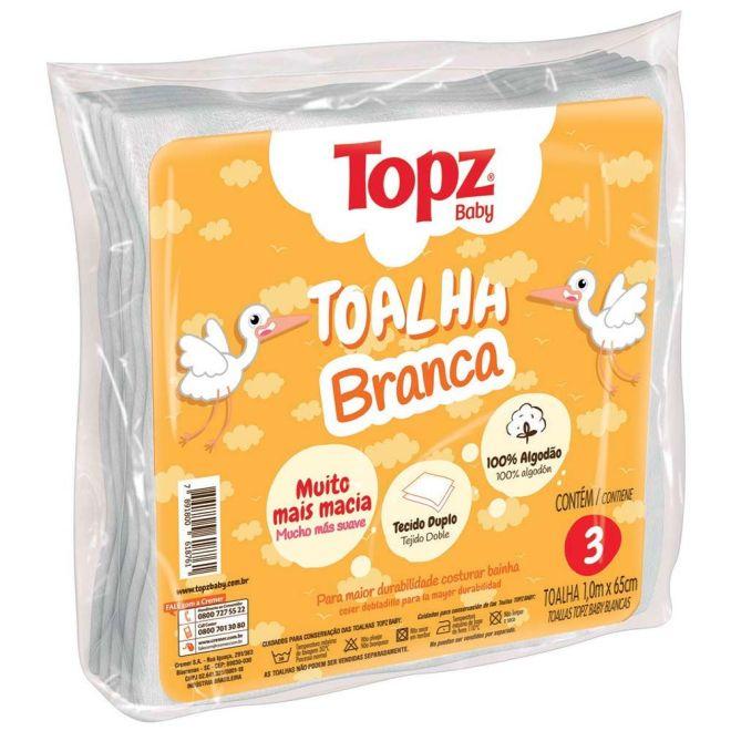 Toalha Branca Topz Baby 100 x 65cm c/3 un