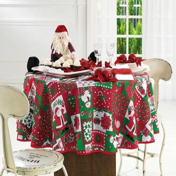 Toalha de Mesa Quadrada Natal Papai Noel 140 x 140 cm - Karsten