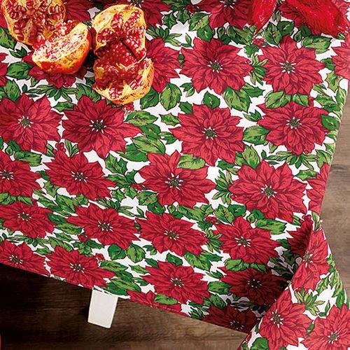 Toalha de Mesa Retangular Natal Christma Flower 140 x 210 cm - Karsten