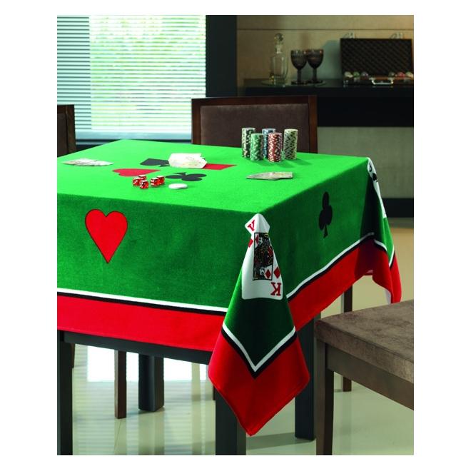 Toalha de Mesa Velour Estampada para Jogos Poker 154 x 154 cm - Dohler