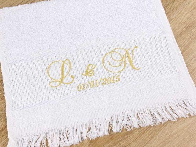 Toalha Escolar para Casamento Branca 24 x 40cm - Modelo 03
