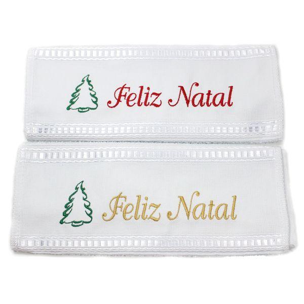 Toalha Lavabo Bordada Árvore Feliz Natal 28 x 50cm - Garmisch