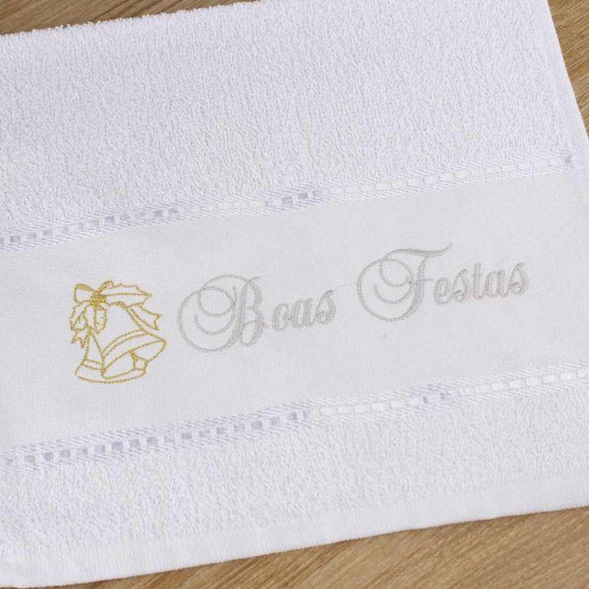 Toalha Lavabo Branca Boas Festas 28 x 50cm - Modelo 08