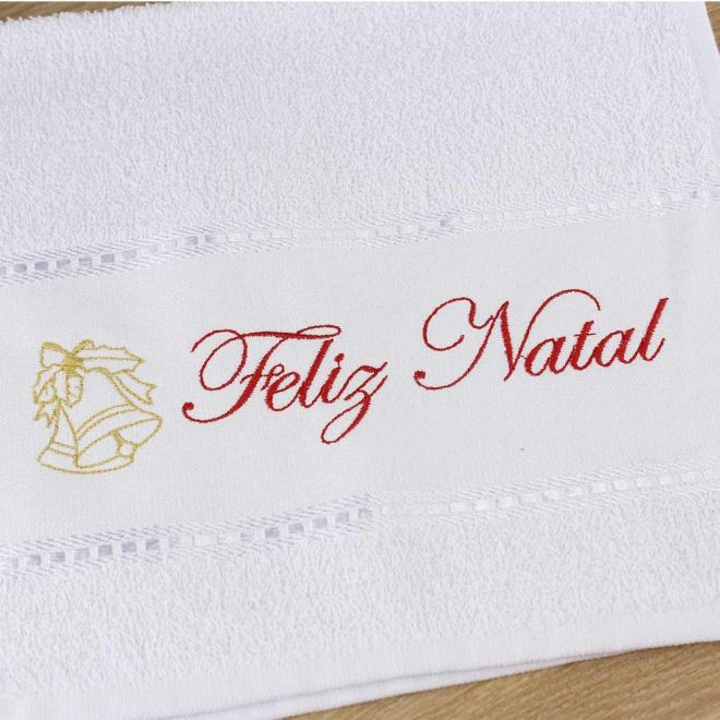 Toalha Lavabo Branca Feliz Natal 28 x 50 cm - Modelo 03