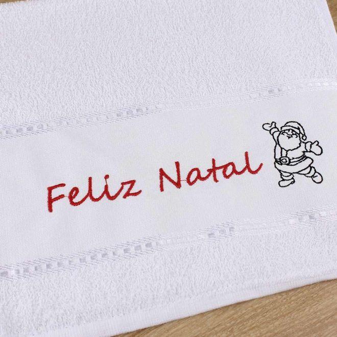 Toalha Lavabo Branca Feliz Natal 28 x 50cm - Modelo 02