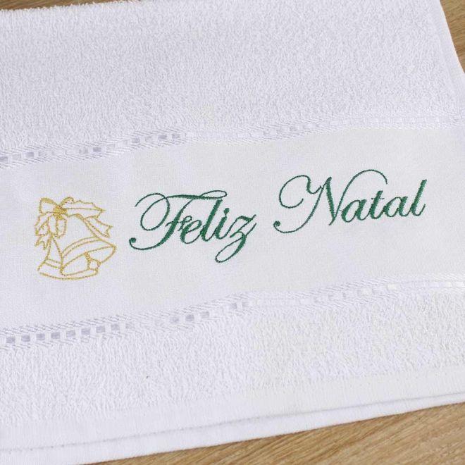 Toalha Lavabo Branca Feliz Natal 28 x 50cm - Modelo 03